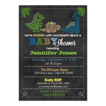 Boys Chalkboard Dinosaur Baby Shower Invitations