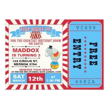Boys Circus Ticket Birthday Party Invitation