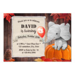 Boys Cute Elephant Autumn Pumpkin Birthday Party Invitation
