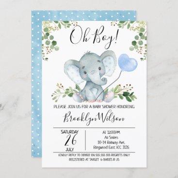 Boy's Elephant Watercolor Baby Shower Invitation