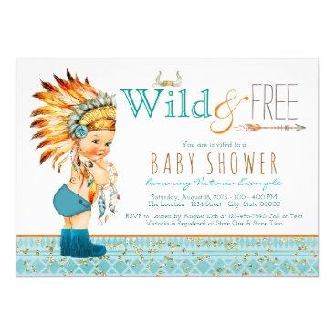 Boys Tribal Wild and Free Baby Shower Invitation