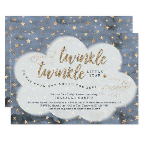 Boys Twinkle Twinkle Little Star Baby Shower Card