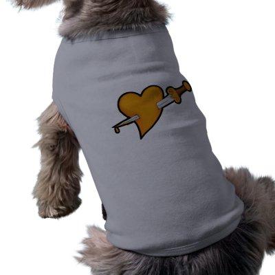 Brass Heart and Dagger Tattoo Pet T-shirt by toxiferousdark