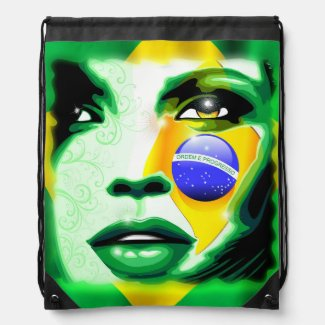 Brazil Flag Girl Portrait Backpacks