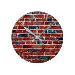 Brick Wall Cool Texture Pattern Round Clock