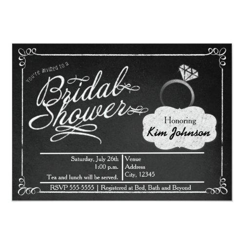 Bridal Shower Chalk Vintage Chalkboard Invitation