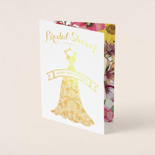 Bridal Shower Gold Foil and Floral Foil Card