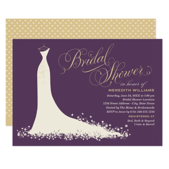 Bridal Shower Invitation  Elegant Wedding Gown  Zazzlecom