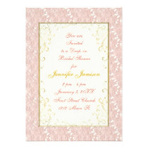 Bridal Shower Invitations Pink lace, Ivory, Gold