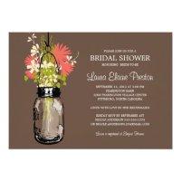Bridal Shower Mason Jar and Wildflowers Invitations | Zazzle