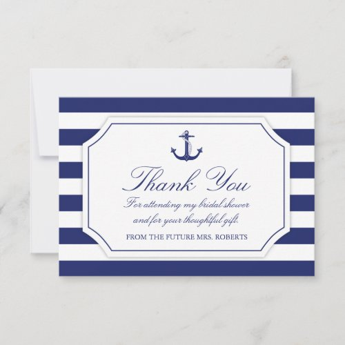 Bridal Shower Nautical Anchor Navy Blue Thank You