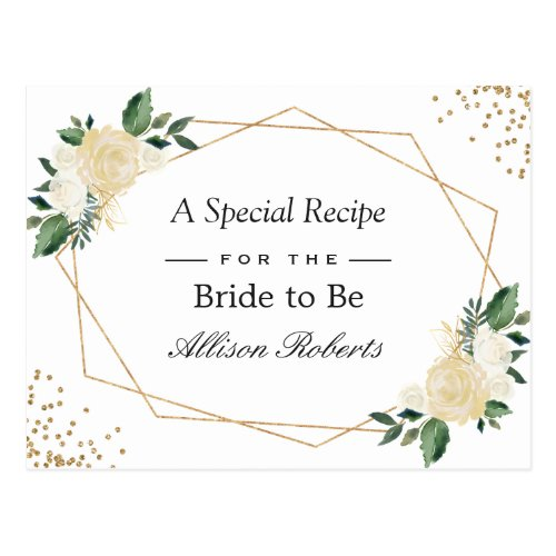 Bridal Shower Recipe Nature Green Gold Floral Postcard