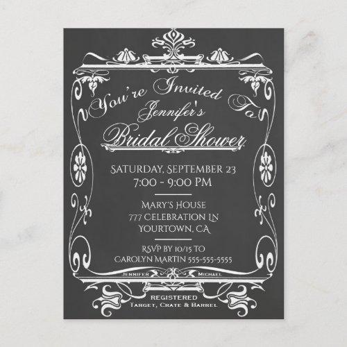 Bridal Shower   Vintage Chalkboard Invitation Postcard