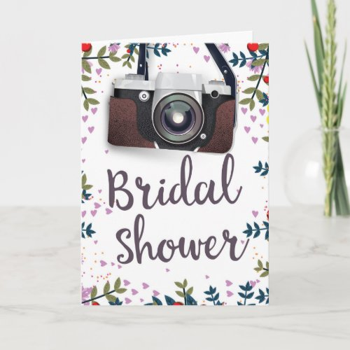Bridal Shower Vintage flowers and classic camera Holiday Card