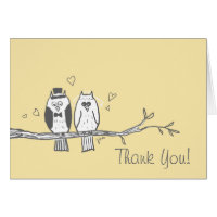 Bride and Groom Owls Thank You Note Card