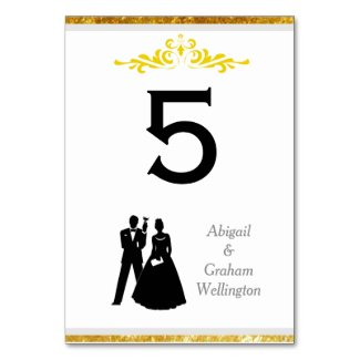 Bride & Groom Gold Trim Table Number Card Table Card