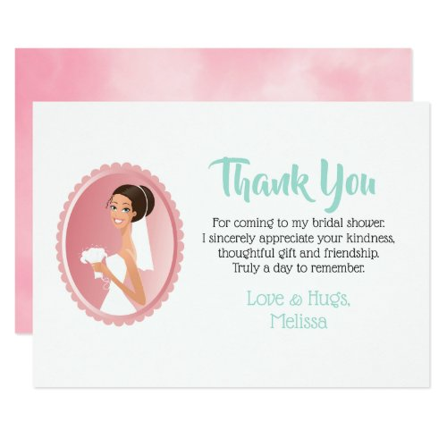Bride in a Veil with Bouquet Bridal Shower Thanks Invitation