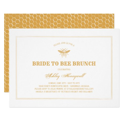 Bride to Bee Brunch Invitation