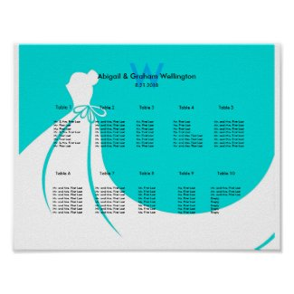Bride's Dress Wedding Seating Chart Poster