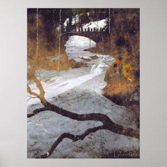 Bridge Over a Frozen Stream by Alexandra Cook print