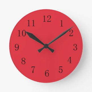Large red kitchen wall clocks