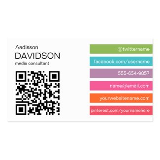 Bright Bars 2 QR CODE Social Media Business Card