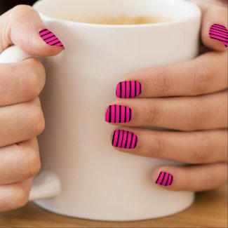 Bright Bold Striped Minx Nails Nails Sticker