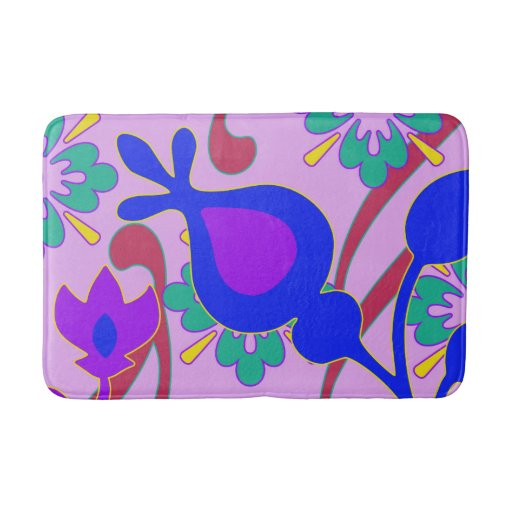 Bright Colorful Funky Flowers Bath Mat