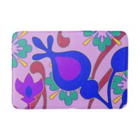 Bright Colorful Funky Flowers Bath Mat | Zazzle