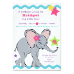 Bright Colorful Girl Elephant Star Invitation