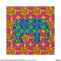 bright_colorful_paisley_elephant_wood_wall_art ...