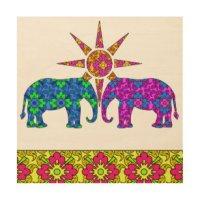 Colorful Elephant Wood Wall Art | Zazzle