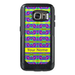 Bright colorful yellow purple curls pattern OtterBox samsung galaxy s7 case