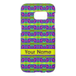 Bright colorful yellow purple curls pattern samsung galaxy s7 case