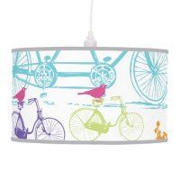 Bright Colors Stylized Vintage Bicycle Pink Bird Pendant ...