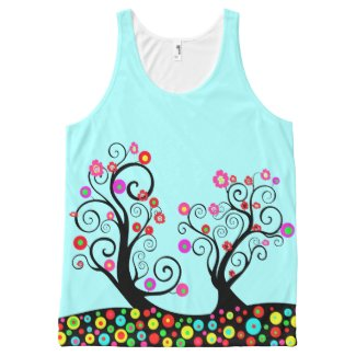 Bright colourful floral swirl tree All-Over print tank top