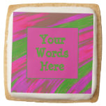 Bright Green Pink Color Swish Abstract Square Shortbread Cookie