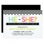 Bright Modern Chevron Baby Gender Reveal Party Invitation