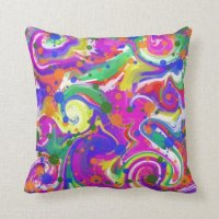 Bright Multi Colored Abstract Throw Pillow | Zazzle