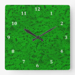 Bright Neon Green Cork Bark Look Wood Grain Square Wall Clock