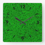 Bright Neon Green Cork Bark Look Wood Grain Square Wall Clocks