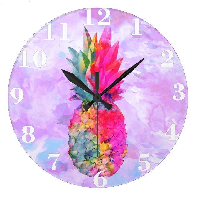 Bright Neon Hawaiian Pineapple Tropical Watercolor Large Clock  Zazzlecom