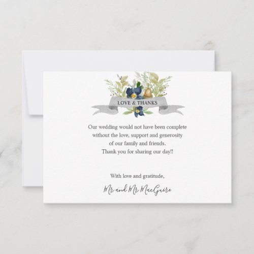 Bright Oak and blue Flowers Wedding thank you
