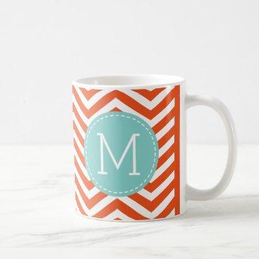 Bright Orange Chevron Pattern with monogram Coffee Mug