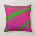 Bright Pink and Green Color Abstract Design Throw Pillow