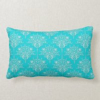 Bright Turquoise and White Floral Damask Lumbar Pillow ...