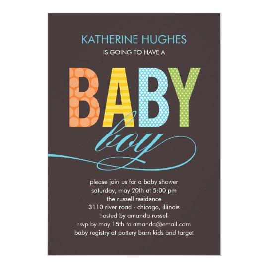Bright Type Baby Shower Invitation  Boy  Zazzle