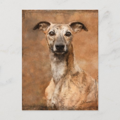 Brindle Whippet Dog Holiday Postcard