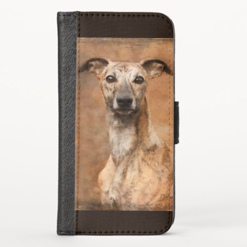 Brindle Whippet Dog iPhone X Wallet Case