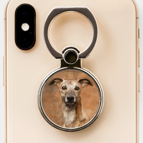 Brindle Whippet Dog Phone Ring Stand